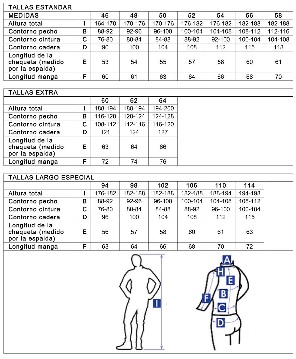 Guía de tallas Chaquetilla maestro PBT
