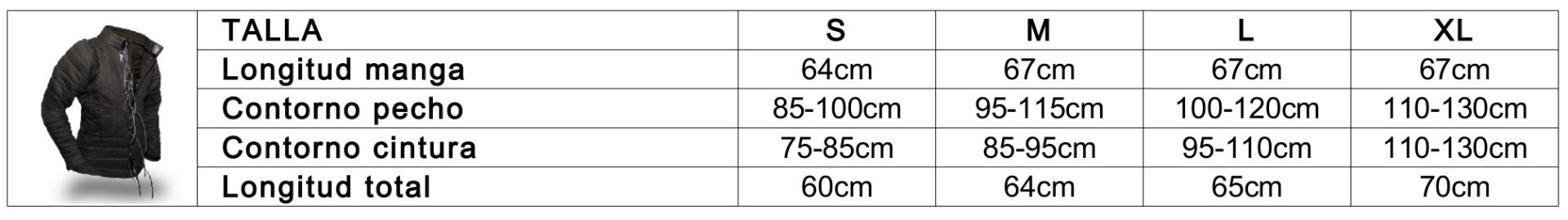 Guía de tallas FG Gambeson Basic 350N