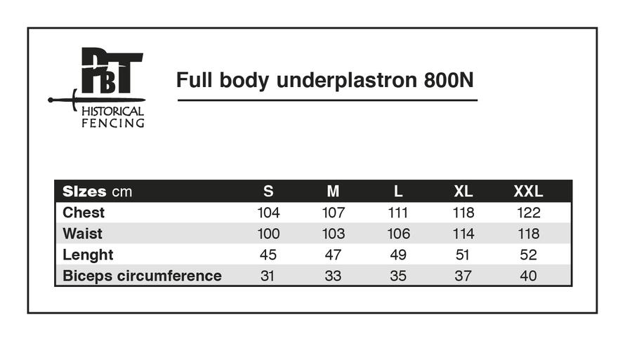 Guía de tallas Protector de pecho interior PBT