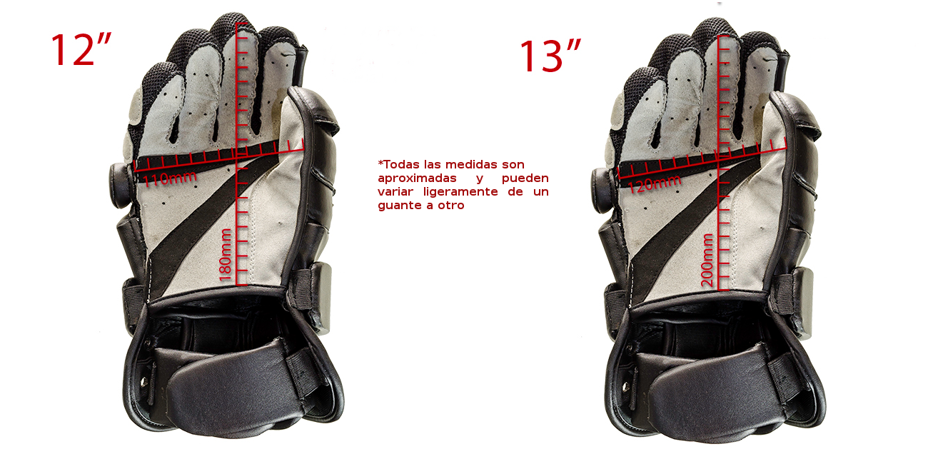 Guía de tallas Guantes HEMA mano y media RED DRAGON