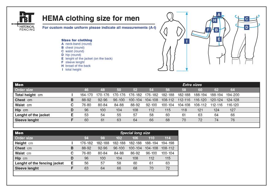Guía de tallas CHAQUETA HEMA BASIC