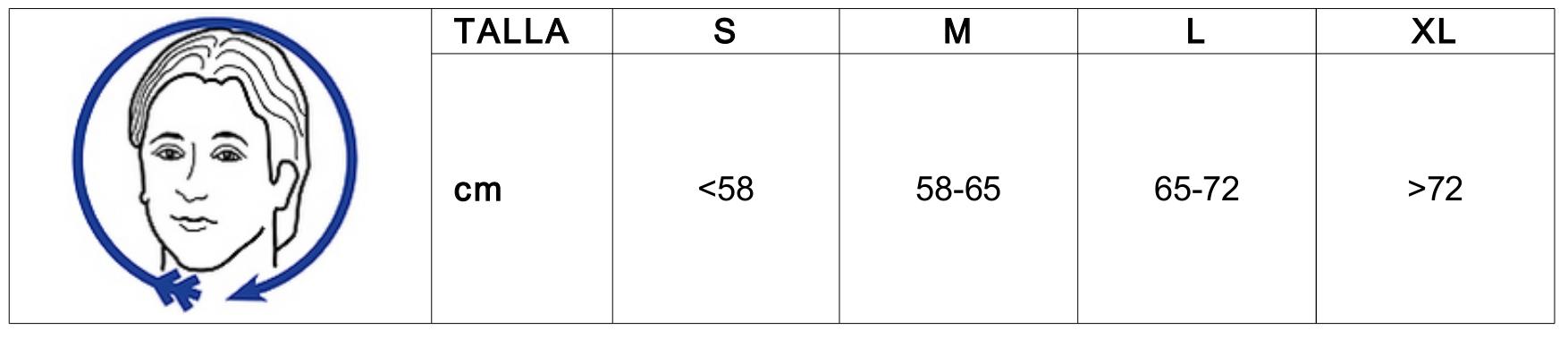 Guía de tallas Careta GJ-133 350N